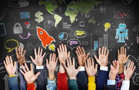 Group of Diverse Colorful Hands Raised with Symbols