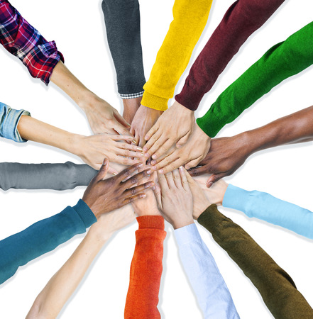 diverse family: Group of Human Hands Holding Together