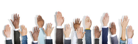 hands raised: Diverse Business Peoples Hands Raised