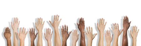 Group of Multiethnic Diverse Hands Raised Archivio Fotografico