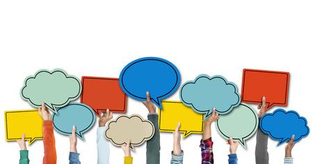 speech cloud: Diverse Hands Holding Colorful Speech Bubbles