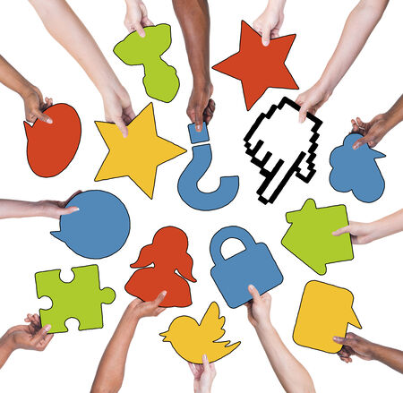 Group Of People Holding Social Networking Symbols Stock Photo