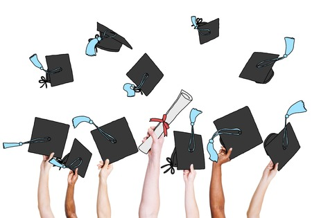 multiethnic: Group of Graduating Students Hands Holding and Throwing Mortar Board