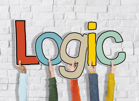 logically: Logic Reason Thought Arms Holding White Bricks Concept