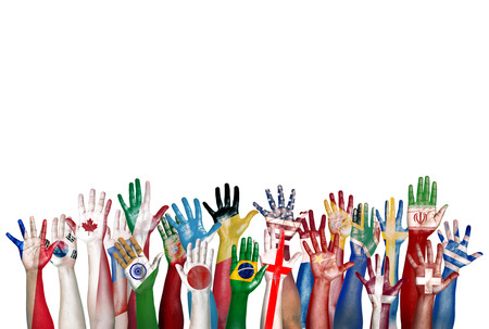 painted hands: Group of Diverse Flag Painted Hands Raised