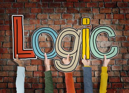 reason: Logic Reason Thought Arms Holding Bricks Wall Concept