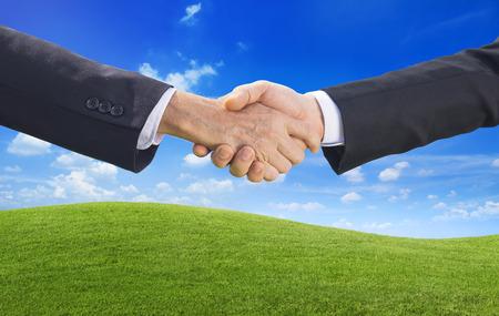 partnership power: Concept of business people agreement handshake Stock Photo