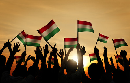 Silhouettes of People Holding the Flag of Hungary photo