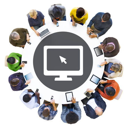 Diverse People Using Digital Devices with Computer Symbol photo