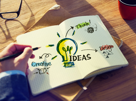 personal perspective: Personal Perspective of a Person Planning for Ideas Stock Photo