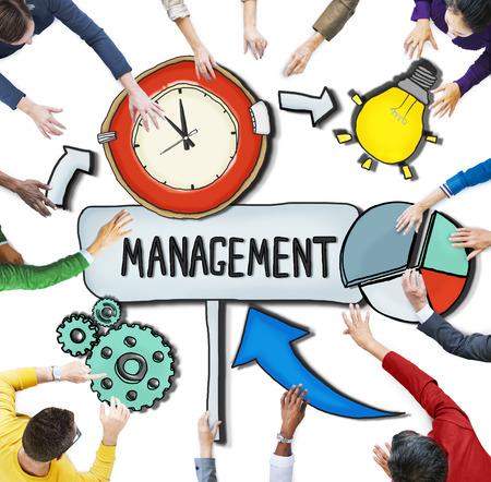 administración del tiempo: Vista aérea de personas y conceptos de gestión de tiempo