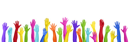 hands raised: Colorful Hands Raised On White Background