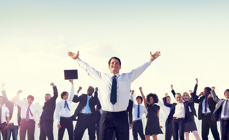 cheer: Business People Corporate Success Concept Stock Photo