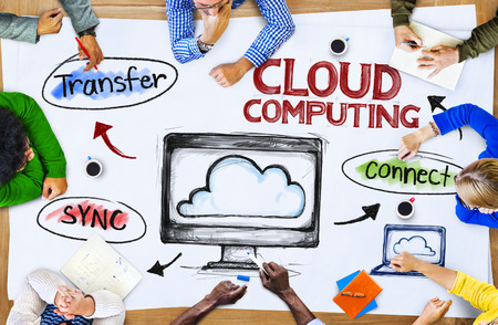 with clouds: Group of Multiethnic People Discussing About Cloud Computing Stock Photo