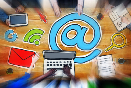 wireless communication: Meeting Email Online Messaging Wireless Communication Concept