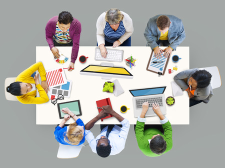people working together: People Working in a Conference and Photo Illustration Stock Photo