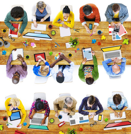 asian business meeting: Designers Working in the Office Photo and Illustration Stock Photo
