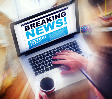 the place is important: Digital Online Breaking News Headline Concept