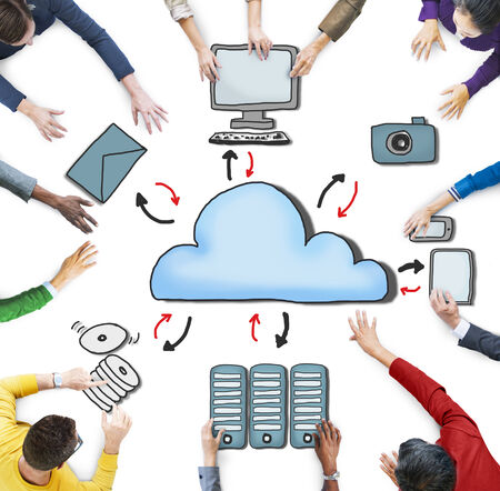 cd rom: Aerial View of People and Cloud Computing Concepts