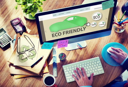 friendly: Man Planning to Buy Eco Friendly Car Stock Photo