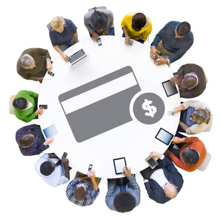 Multiethnic People Using Digital Devices with Credit Card Symbol photo