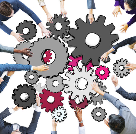 asian business meeting: Group of Multiethnic Business People with Cog Symbols Stock Photo