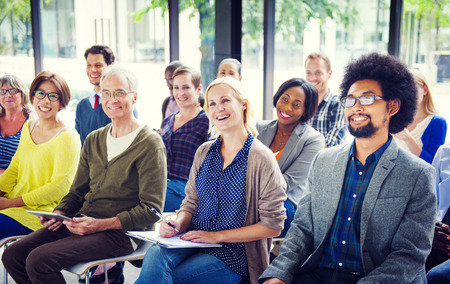 Cheerful and Diverse People Listening Standard-Bild