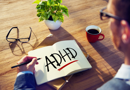 adhd: Business Man with Notepad and ADHD Concepts