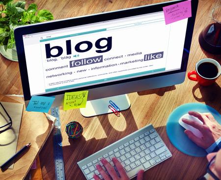 media equipment: Digital Dictionary Blog Follow Like Concept