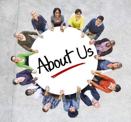 about us: Multiethnic People in Circle with About Us Concept Stock Photo