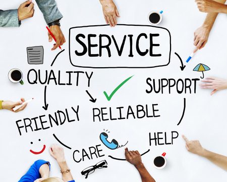 support services: Multiethnic Group of People Discussing About Service Stock Photo
