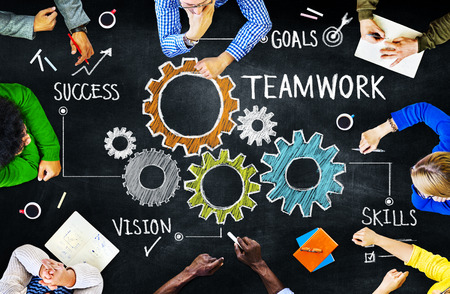business teamwork: Diverse People in a Meeting and Teamwork Concept