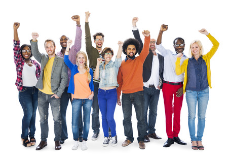 arms raised: Large Group of People Celebrating Stock Photo