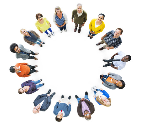 ethnicity: Group of Multiethnic People Looking Up Stock Photo