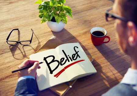 beliefs: Businessman Brainstorming About Belief