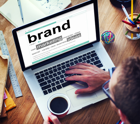 Digital Dictionary Brand Marketing Ideas Concept 스톡 콘텐츠