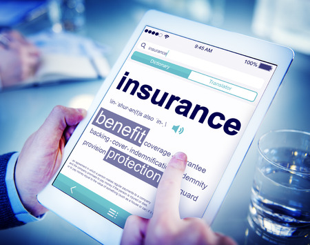 Digital Dictionary Insurance Benefits Protection Concept 스톡 콘텐츠