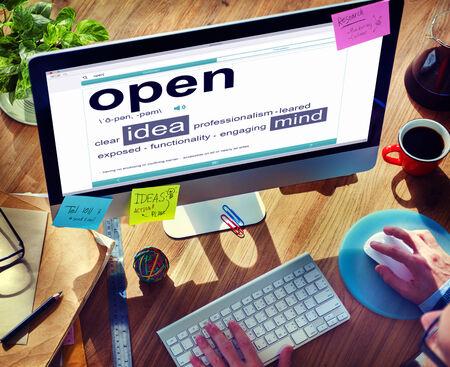 open office: Business Online Idea Open Office Working Concept
