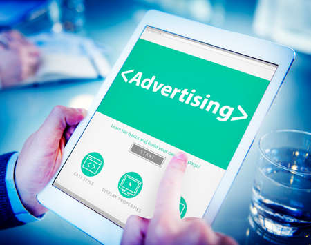 advertising network: Digital Online Webpage Advertising Marketing Concept