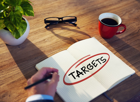 targets: Businessman Writing the Word Targets