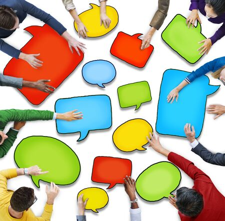 woman arms outstretched: Group of Diverse People Holding Speech Bubbles