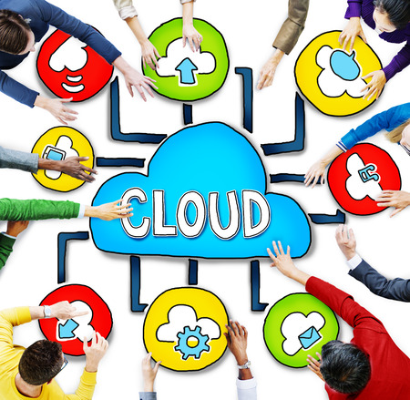 medium group of people: Aerial View of People and Cloud Computing Concepts