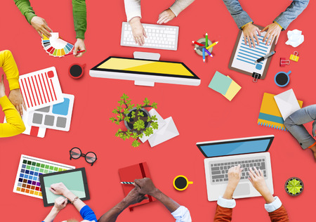 People Working in a Conference and Photo Illustration Stock Photo