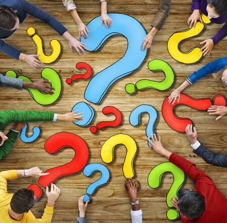 question marks: Multiethnic Group of People with Question Mark