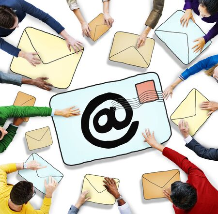 Aerial View of People and E-Mail Concepts photo