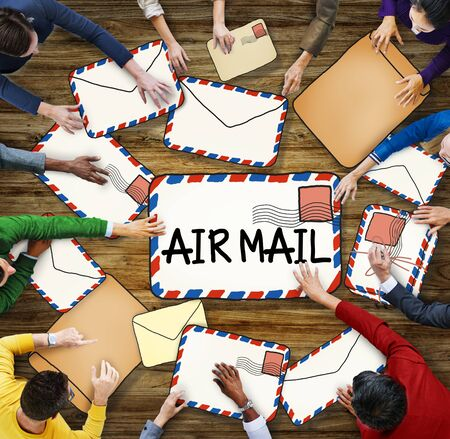 air mail: Multiethnic Group of People with Air Mail Concept