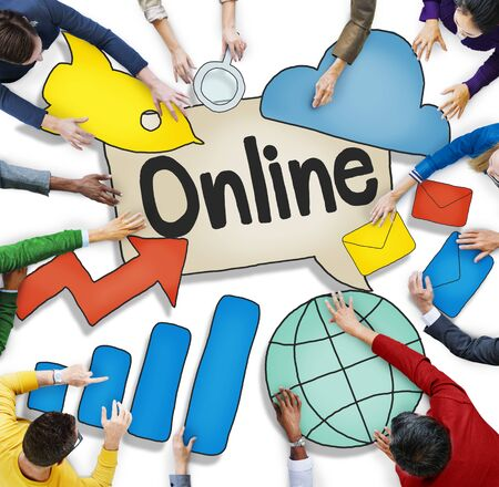 Aerial View of Business People and Online Concepts photo