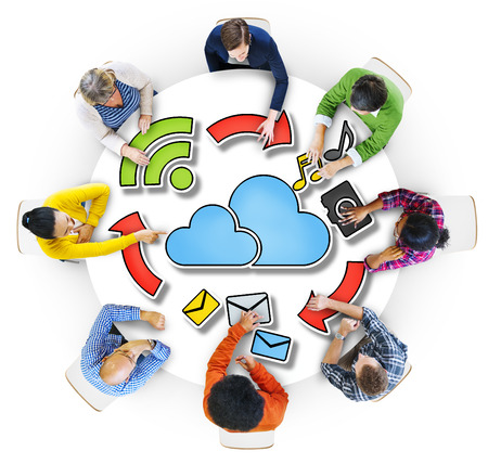 multiethnic: Aerial View of People and Cloud Computing Concepts