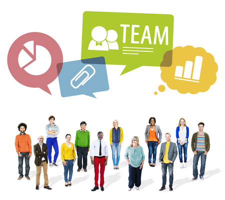 Group of Multiethnic People with SPeech Bubbles Stock Photo
