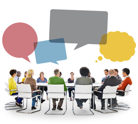 mujeres juntas: Group of People in Meeting with Speech Bubbles